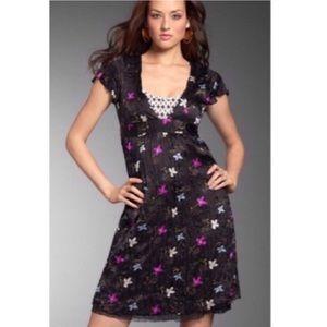 Free People Deep V-neck Silk Tule Floral Dress